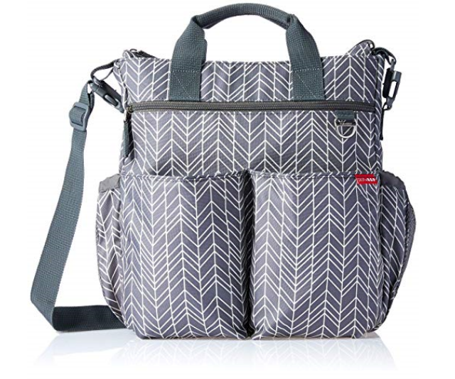 **Skip Hop Duo Signature Nappy Bag RRP $115.00:**  This pocket heavy bag comes with two elasticised, mesh side pockets and has grab handles and adjustable shoulder strap with slip-on shoulder pad. As well as all of your baby needs, busy parents can also transport tablets and laptops up to 15 inches in size.