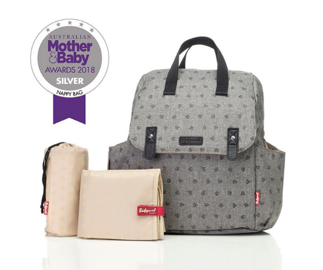 **Babymel 'Robyn' convertible backpack nappy bag RRP $144.99:** With a convertible strap, this bag can be worn four ways, as a backpack, shoulder bag, cross body or hand held. Also featured is a dispenser pocket for wipes - perfect for quick clean- ups.