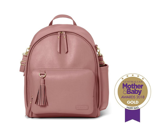 **Skip Hop 'Greenwich' nappy backpack RRP $199.00:** Features multiple pockets for ultimate organisation. It comes with a cushioned changing pad; has adjustable straps and convenient top handle and secures to your pram with the included stroller straps.