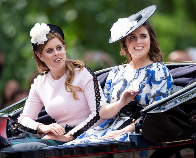 Beatrice and Eugenie looked glamorous as they smiled and waved at onlookers.