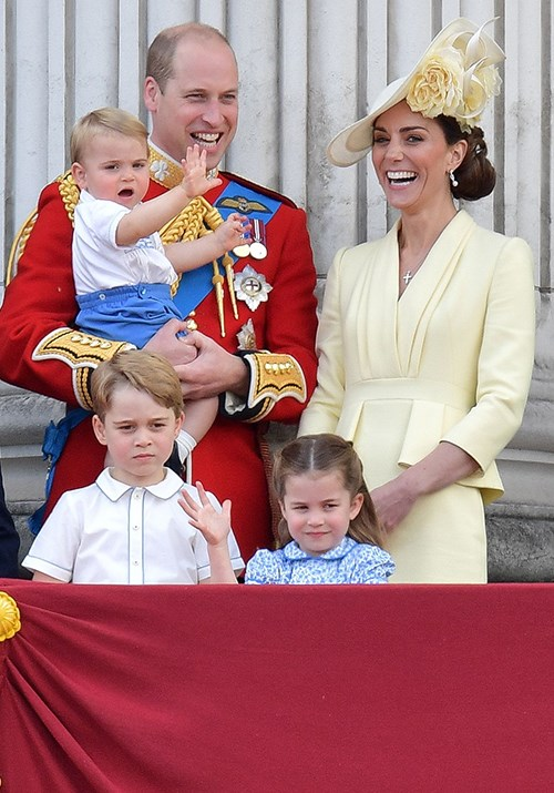 The Cambridge family at Trooping the Colour in June, with Prince Louis making his Buckingham Palace balcony debut. *(Image: Getty)*