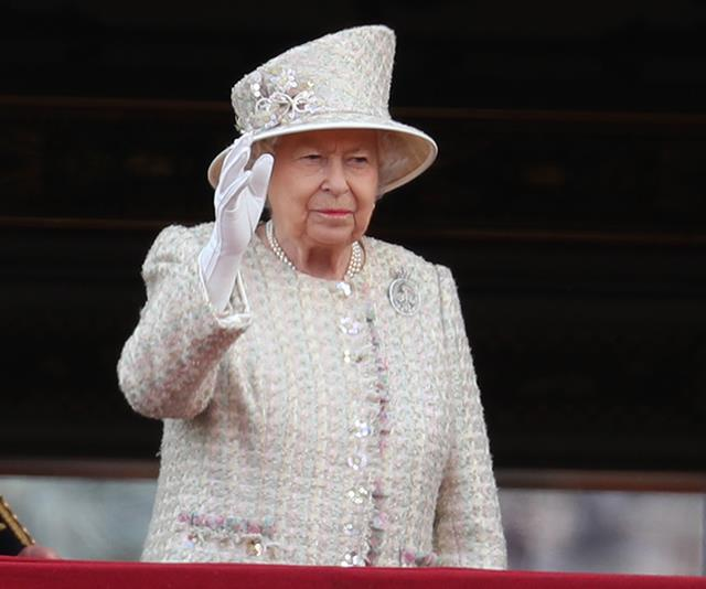 The Queen has had a bit more time than Louis to perfect the regal wave...