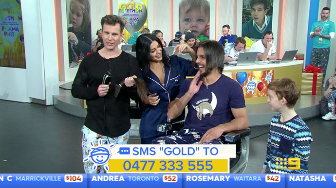 Martha and Michael with David Campbell and Oliver, the Gold Telethon ambassador on set.