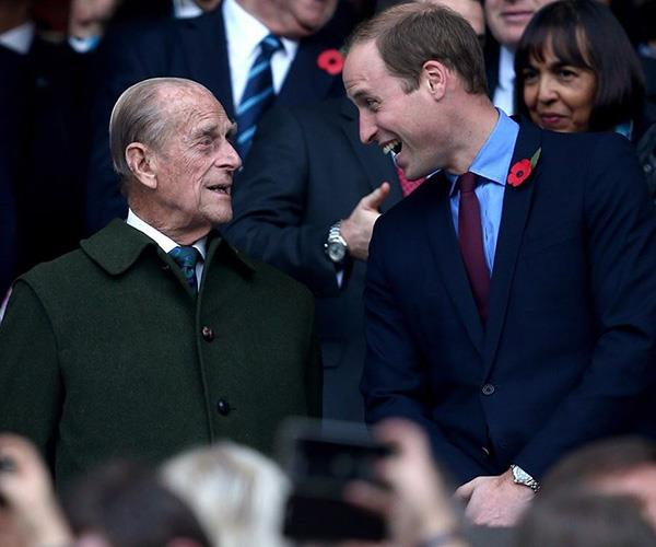 The Cambridge clan sent their well-wishes as well. We love this shot of Prince William sharing a laugh with his grandpa.