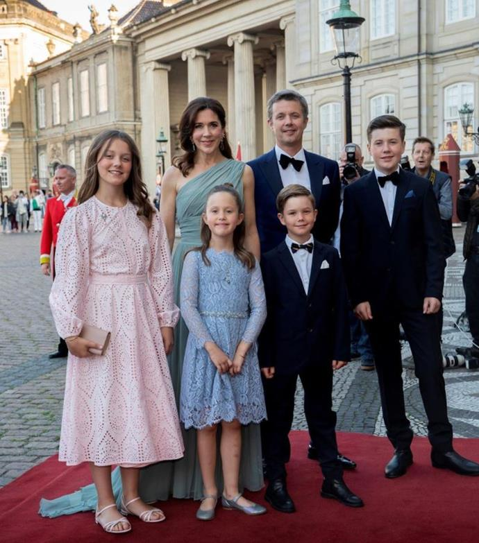 The family of six stepped out in their black tie outfits at Prince Joachim's 50th birthday celebrations.