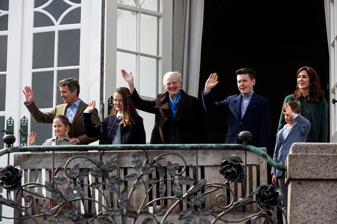 "[To celebrate Queen Margrethe's 79th birthday](https://www.nowtolove.com.au/royals/international-royals/princess-mary-queens-birthday-55190|target=""_blank""), the monarch was joined by her son Crown Prince Frederik, Crown Princess Mary and their four children as they sang on the balcony of the Marselisborg Palace."