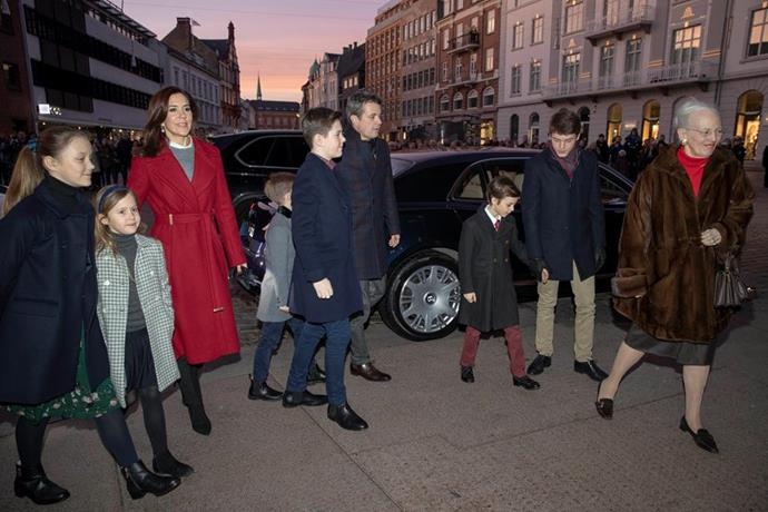 """The entire Danish royal family stepped out for the [traditional Christmas service](https://www.nowtolove.com.au/royals/international-royals/princess-mary-christmas-2018-53263 target=""""_blank"""") in 2018."""