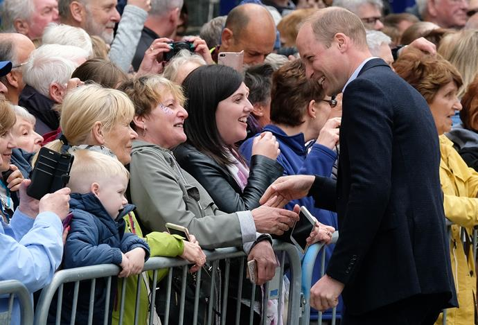 Prince William also put on an animated display for the crowds in Cumbria as he joined his wife.