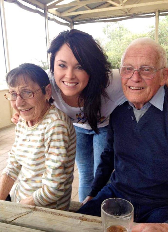 Lisa with her beloved grandparents Ann and John.