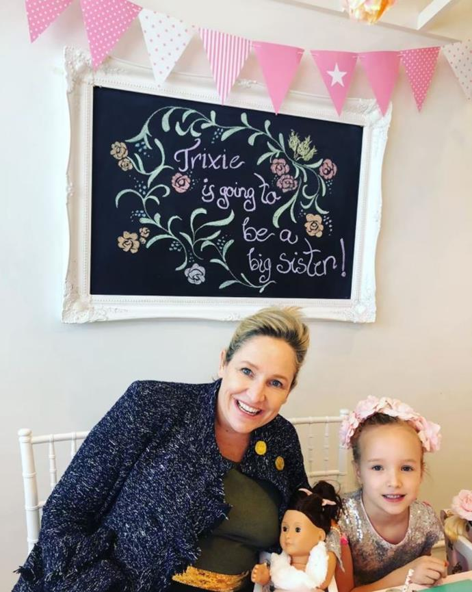 Proud mum-to-be Fifi threw a big sister morning tea for six year-old Trixie.
