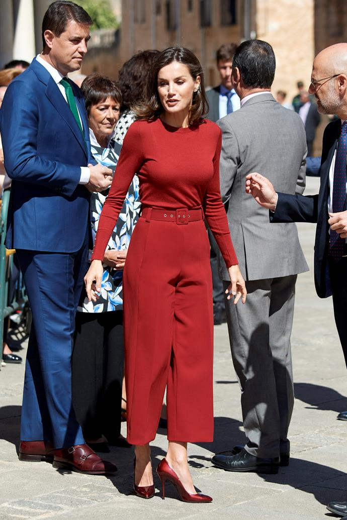 **Queen Letizia of Spain** <br><br>It wouldn't be an international royal fashion gallery without Queen Letizia of Spain. The undisputed fashion icon has been known to wear a showstopping ensemble, and this red number she wore in Madrid certainly didn't disappoint!