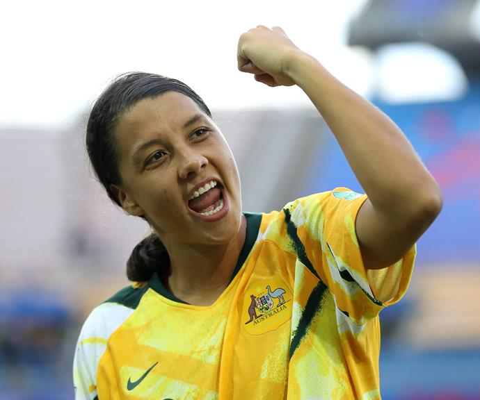 Sam pictured following The Matildas' victory against Brazil in the World Cup qualifying round.