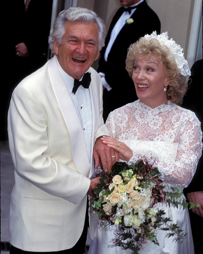 Bob Hawke and Blanche d'Alpuget on their wedding day in 1995.