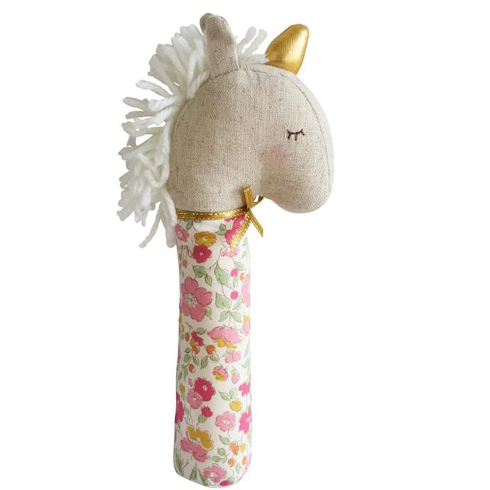 """Encourage bub's grapsing skills with the [Yvette Unicorn Squeaker](https://alimrose.com.au/yvette-unicorn-squeaker-rose-garden/