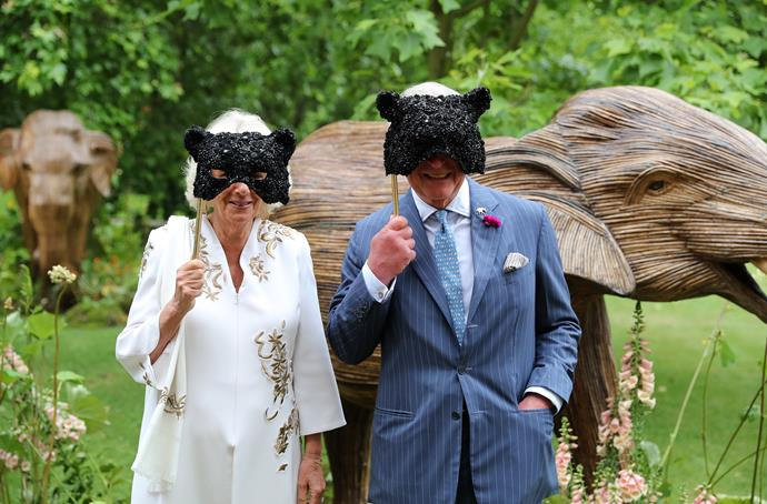 Recognise these faces? Prince Charles and Camilla fully got on board the masquerade theme.