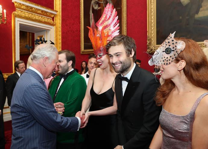 UK actor Douglas Booth was among the list of high profile guests who mixed with Charles and Camilla at the event.