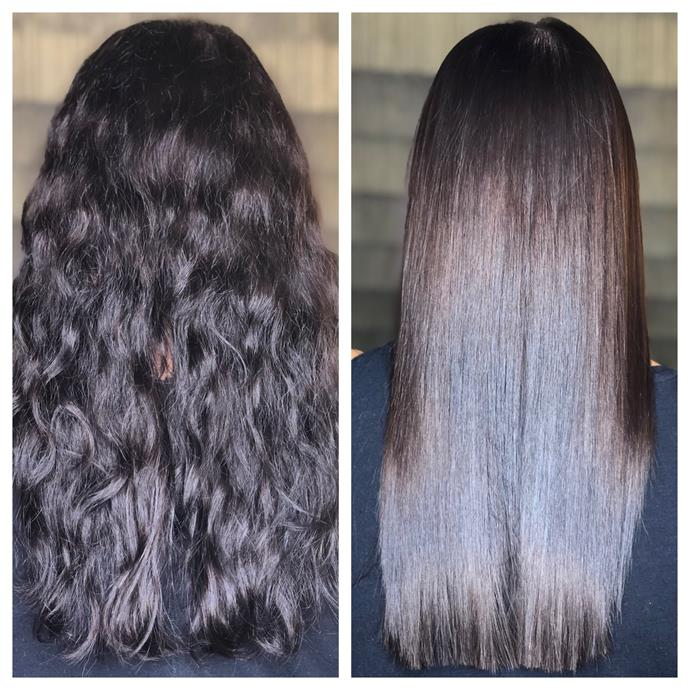 My hair, before and after keratin straightening (same day)