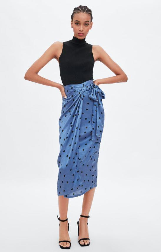 "And if you're a fan of Mary's polka-dot ensemble, why not combine the two by getting a polka-dot match-up of the Hugo Boss style? This Zara skirt is $59.95 and is guaranteed to be your wardrobe's best friend. Buy it [here](https://www.zara.com/au/en/polka-dot-wraparound-skirt-p04661154.html|target=""_blank""