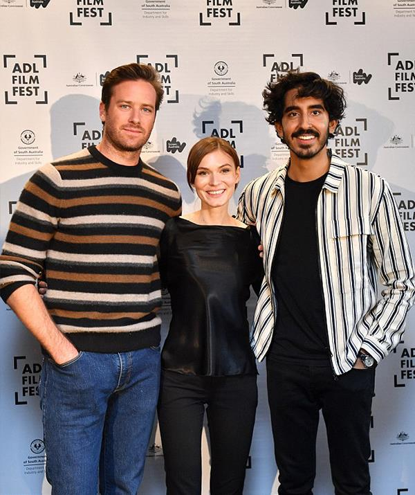 Armie Hammer, Tilda Cobham-Hervey and Dev Patel promoting *Hotel Mumbai* in Adelaide. *(AAP Images)*