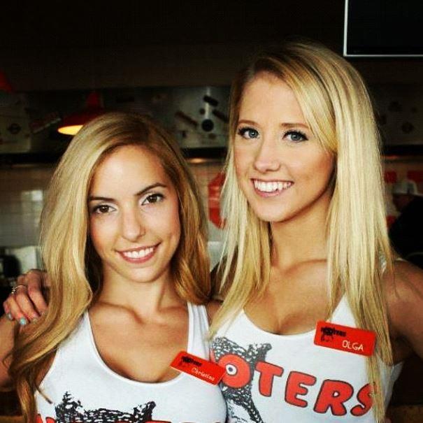 Olga and a friend at Hooters.
