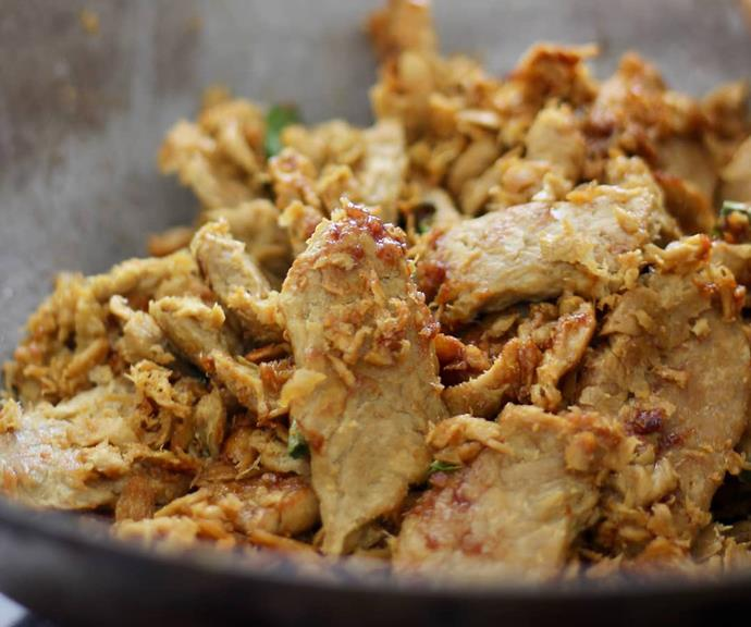 When you look at the product up close, it has the similar fibrous texture of chicken breast.