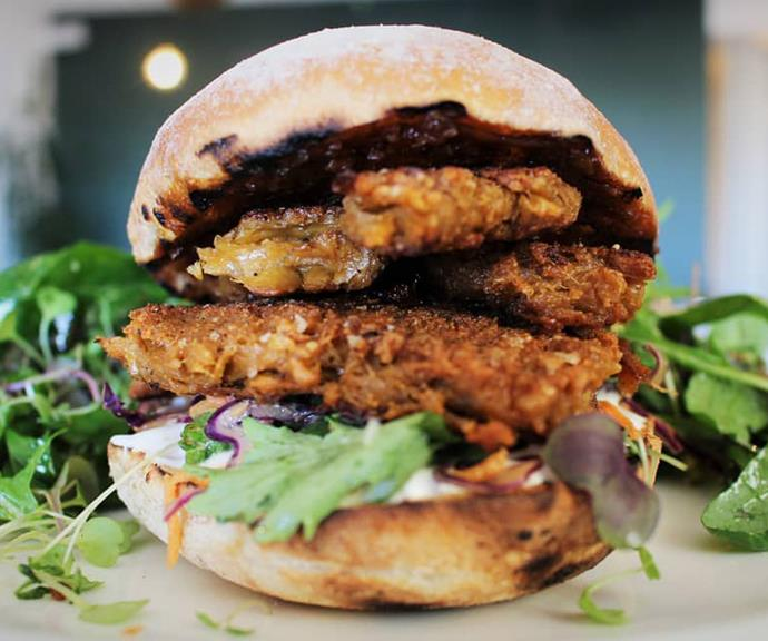 "Here chicken-free chicken has been used to create a ""meat"" patty on a vegetarian burger."