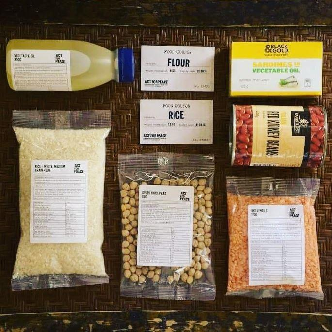 This is what one week of rations for a Syrian refugee looks like.