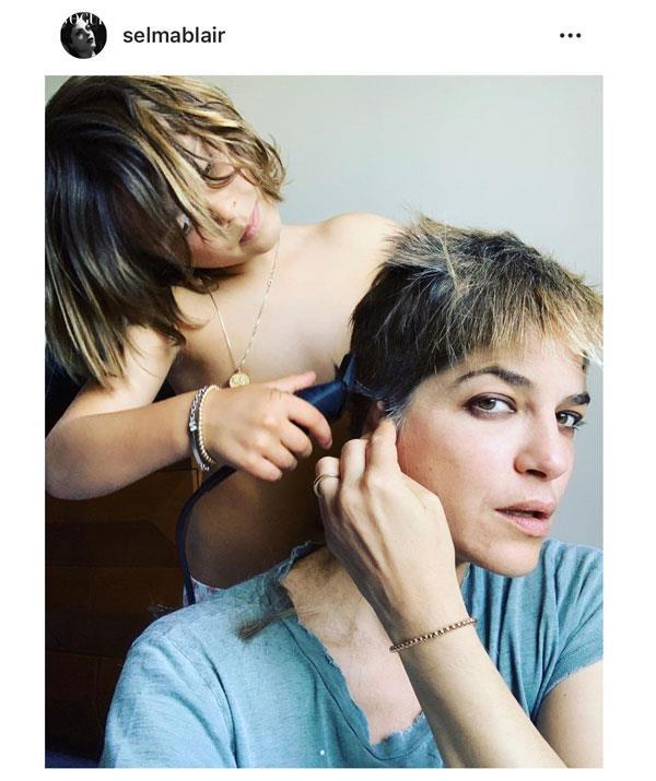 Selma Blair's son shaves her head as she battles MS. *(Image: Instagram @selmablair)*