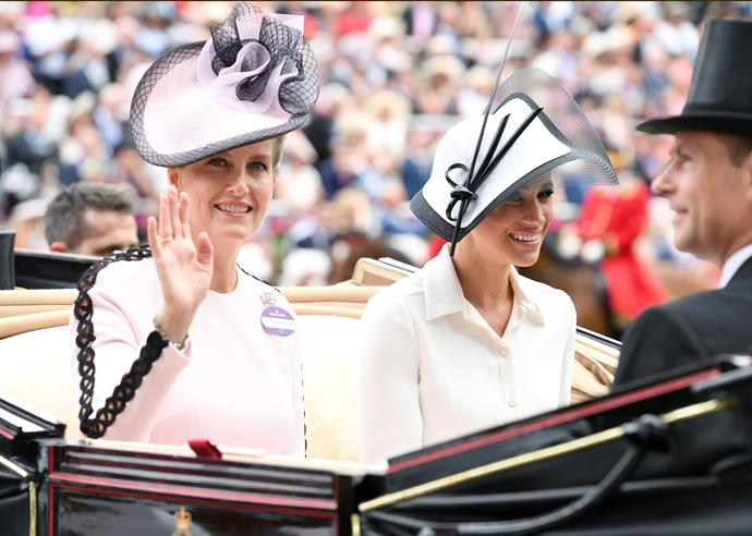 "And Meghan was in good company! Sophie, Countess of Wessex also stunned in a light pink dress with black detailing. Lo and behold, the dress itself is a royal favourite - Princess Beatrice wore it almost a year later for the annual [Trooping the Colour parade](https://www.nowtolove.com.au/royals/british-royal-family/trooping-the-colour-2019-56294|target=""_blank"") in London!"
