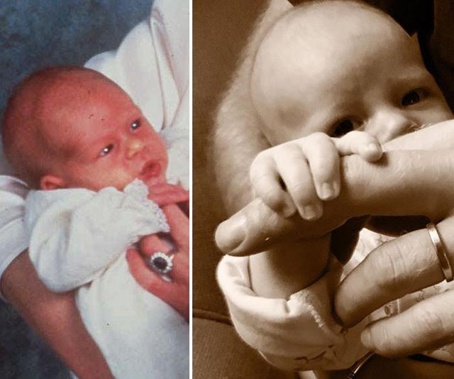 At one of his first official photo shoots, a tiny Prince Harry held on to his mother's finger, just as Archie did to his dad for his first Father's Day.