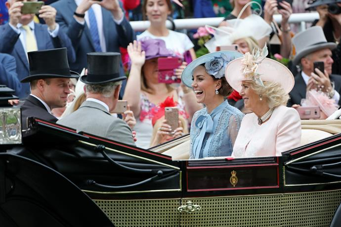 We'd love to know what joke Camilla and Charles were cracking to Wills and Kate!