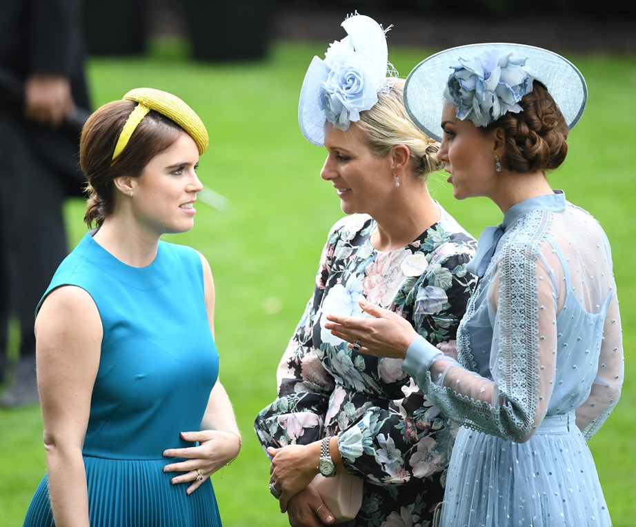 The royal cousins, Princess Eugenie, Zara Tindall and Kate Middleton, had animated discussion. *(Image: Getty)*