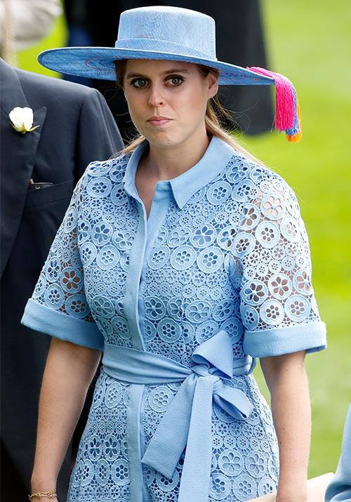 Princess Beatrice's blue embroided design was regally fetching.
