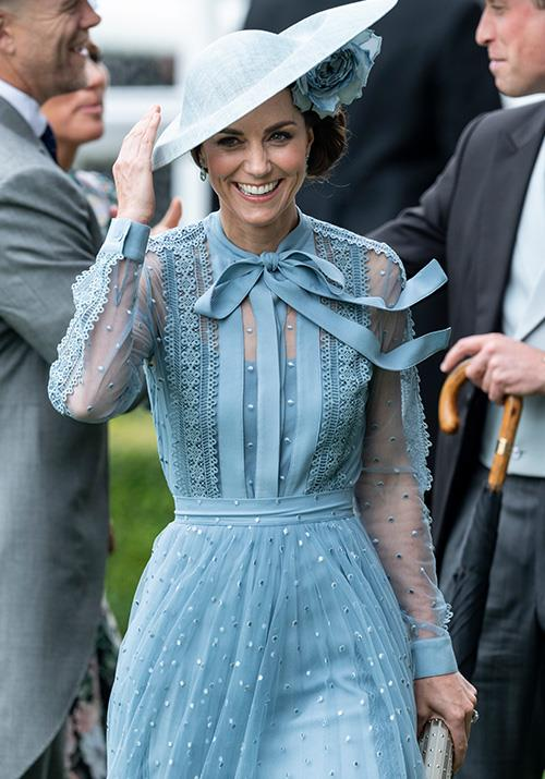 "On day one, Kate Middleton stunned as she stepped out in a [heavenly blue Elie Saab dress](https://www.nowtolove.com.au/royals/british-royal-family/kate-middleton-royal-ascot-2019-56496|target=""_blank"") featuring sheer sleeves and a pussy-bow ribbon at her neck - what a vision!"
