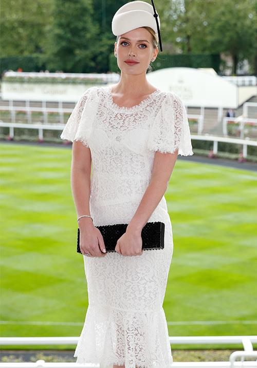 "Princess Diana's niece Lady Kitty Spencer stunned in a white lace design - rather reminiscent of Kate Middleton's [previous go-to Ascot look](https://www.nowtolove.com.au/royals/british-royal-family/royal-ascot-fashion-49315|target=""_blank""), might we add..."