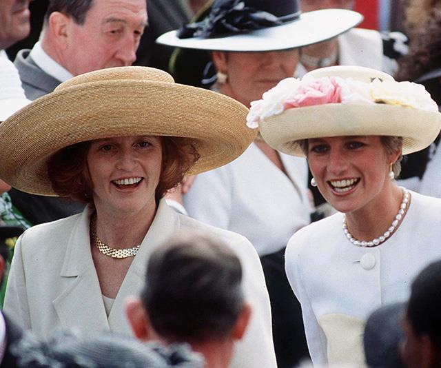 Fergie also hasn't been shy of donning a bold hat at the racing event. We're pretty sure this wide-brimmed straw headpiece would have given her plenty of space as she weaved through crowds with Diana.