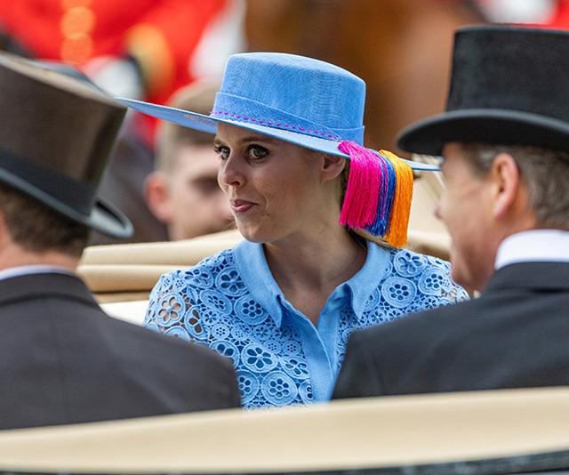 "In 2019, Beatrice [looked fabulous](https://www.nowtolove.com.au/royals/british-royal-family/kate-middleton-royal-ascot-2019-56496|target=""_blank"") on day one of the festivities... that was until she turned her head and we saw a cheeky detail she'd added to her otherwise beautifully coordinating outfit."