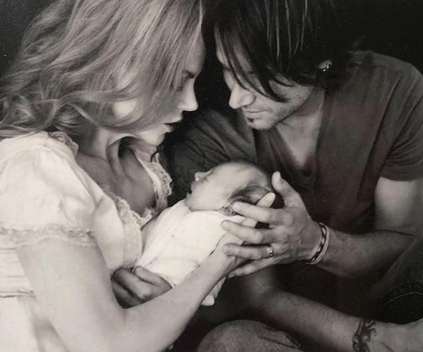 It may be a black and white photograph, but Nicole shone in one of her first photos with her newborn daughter Sunday Rose.