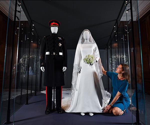 The wedding outfits of the Duke and Duchess of Sussex are currently being exhibited at the Palace of Holyroodhouse in Scotland.