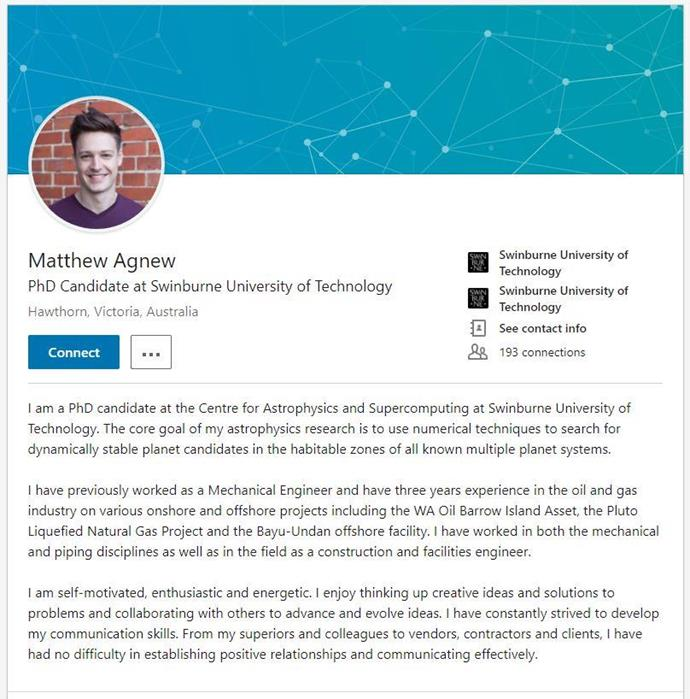 Anyone else tempted to connect with Matt on LinkedIn?