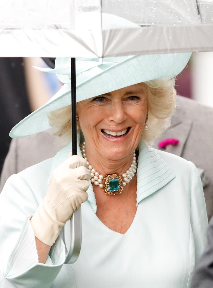 Camilla added a *very* noticeable accessory to her races look.
