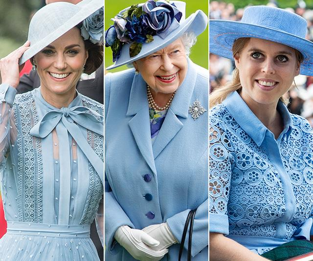 Kate, Beatrice and the Queen were among the royals wearing beautiful shades of blue at Royal Ascot on Tuesday.