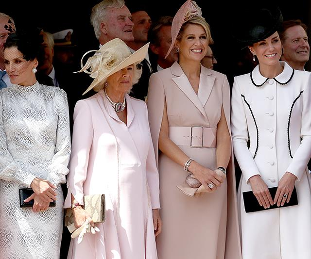 Camilla wore a stunning pink ensemble alongside international royals and Kate Middleton at Monday's Order of the Garter service.