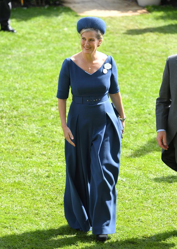 Sophie of Wessex couldn't have looked more chic in this blue pantsuit at Ascot!