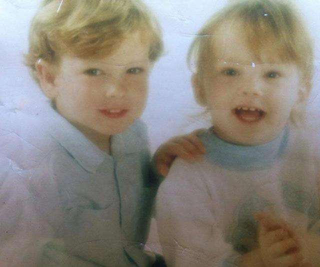Jessika, pictured here at age two with older brother Rhyce in 1993.