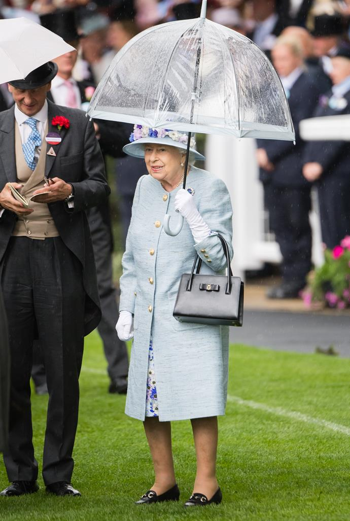 As for the Queen? On day two, she opted for an outfit in yet another lovely shade of blue - it really is her colour!