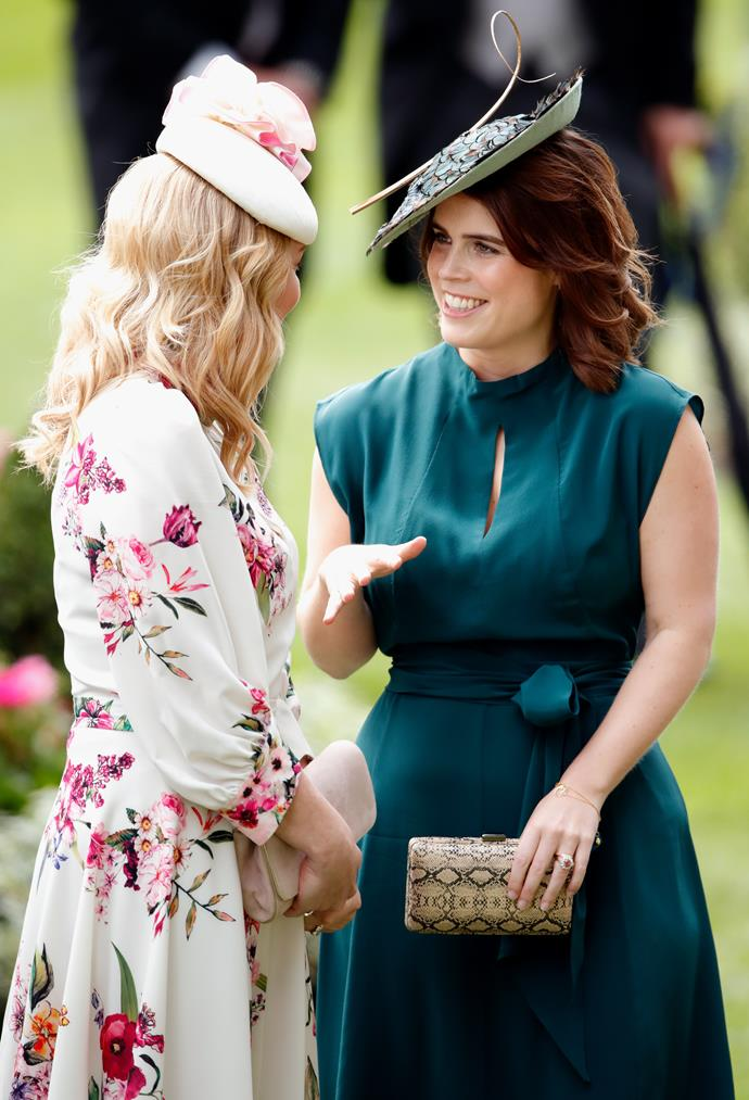 Kicking off day three of the festivities was our leading lady Princess Eugenie, who was glowing in this gorgeous teal number. Love the crocodile clutch too!