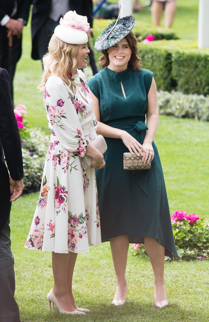 The Princess was all smiles as she chatted to Autumn Phillips, who is married to the son of Princess Anne, Peter. We're loving Autumn's floral dress too!
