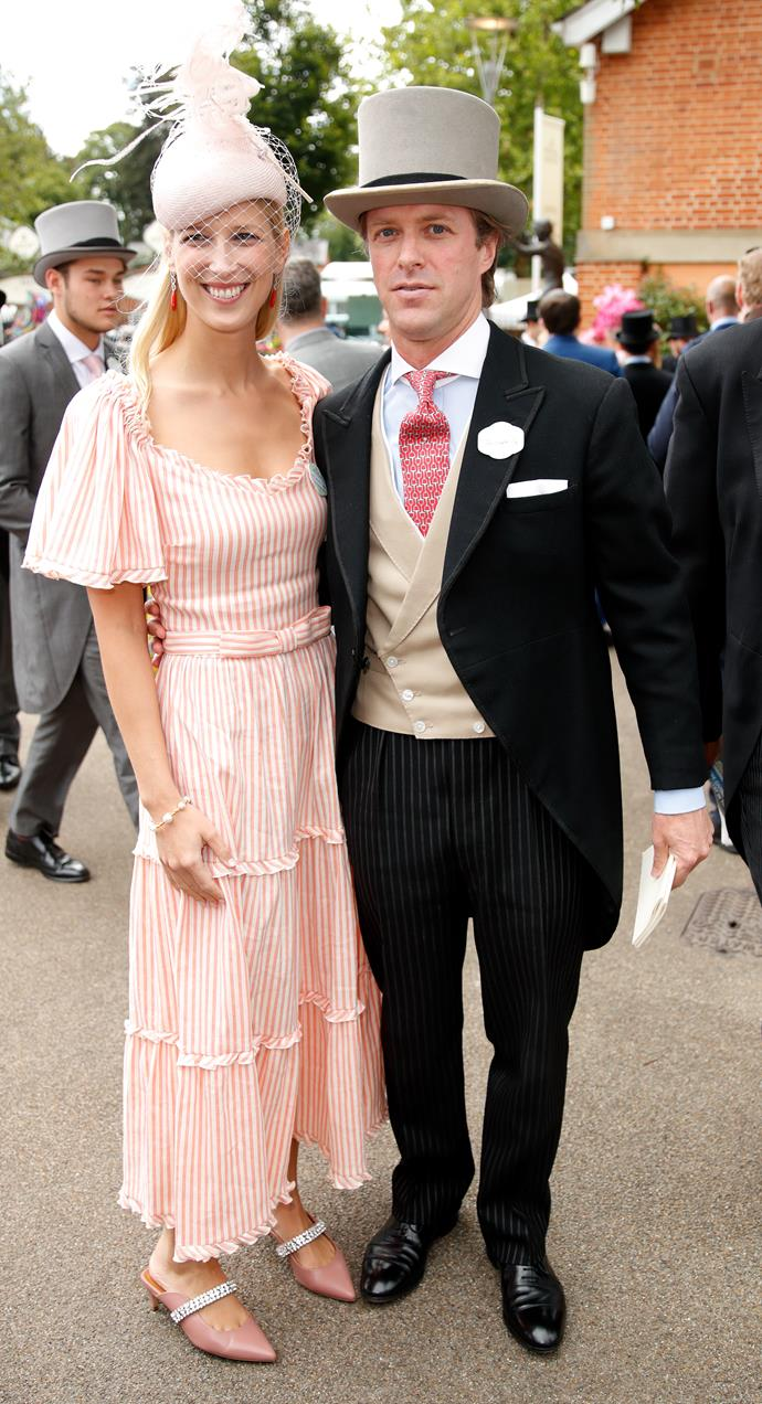 Spot the newlyweds! Lady Gabriella Windsor and Thomas Kingston were only married a mere month ago, but they already look well settled as husband and wife. Gabriella's fresh peachy look is giving us plenty of summer vibes!