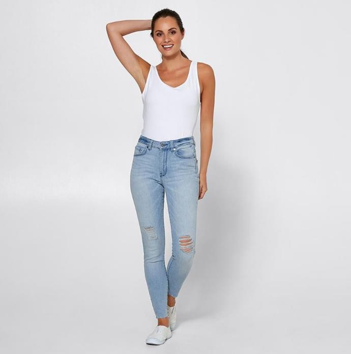 "And what's life without a trusty pair of blue jeans? The ripped style provides that perfect amount of je ne sais quoi. But them [here](https://www.target.com.au/p/denim-sophie-skinny-high-rise-ankle-length-jeans-super-washed-blue-distressed/61827295|target=""_blank""